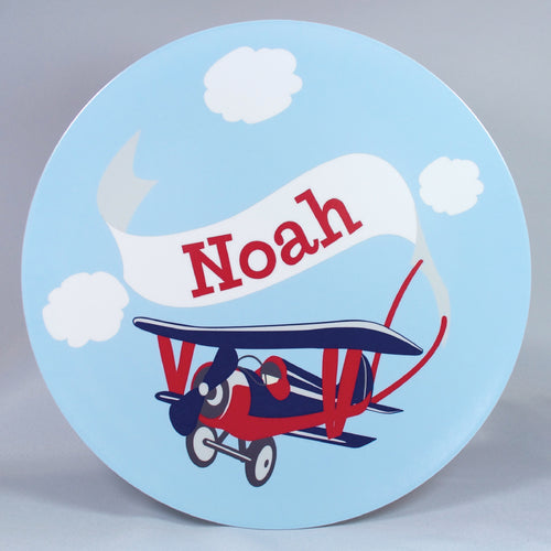 Airplane Personalized Melamine Dinnerware Set, Plate or Bowl