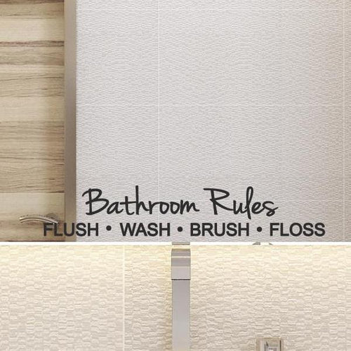 Bathroom Rules Door Vinyl Sticker