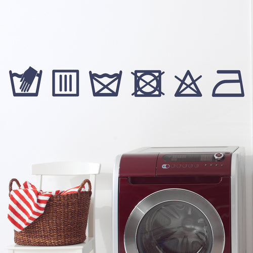 Laundry Care Symbols Vinyl Sticker