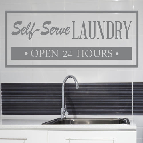 Self Serve Laundry Room Vinyl Sticker