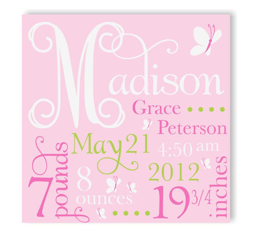 Pink Butterfly Canvas Birth Announcement