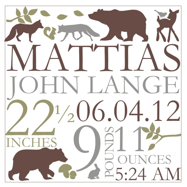 Woodland Forest Canvas Birth Announcement
