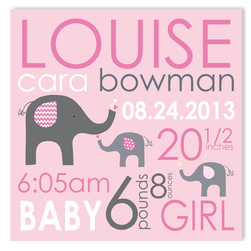 Pink Elephant Canvas Birth Announcement