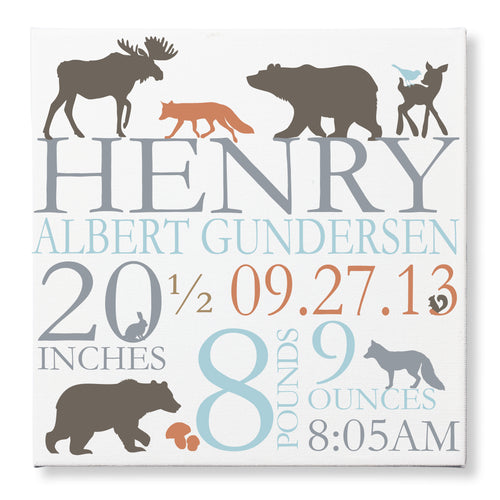 Woodland Forest Blue Orange Canvas Birth Announcement