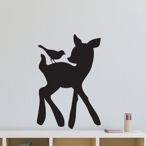 Deer and Bird Chalkboard Wall Decal