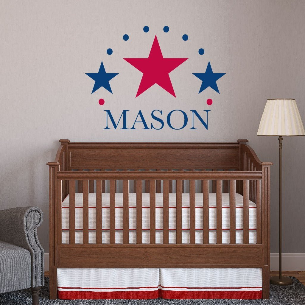 Three Star Monogram Kids Wall Decal