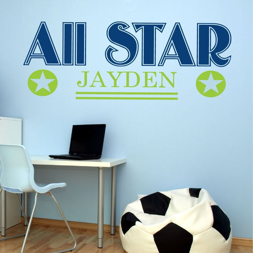 Personalized All Star Sports Kids Wall Decal