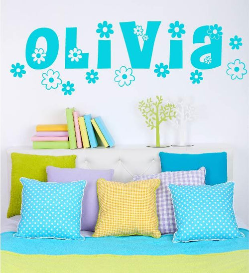 Daisy Chain Flower Personalized Name Kids Wall Decal
