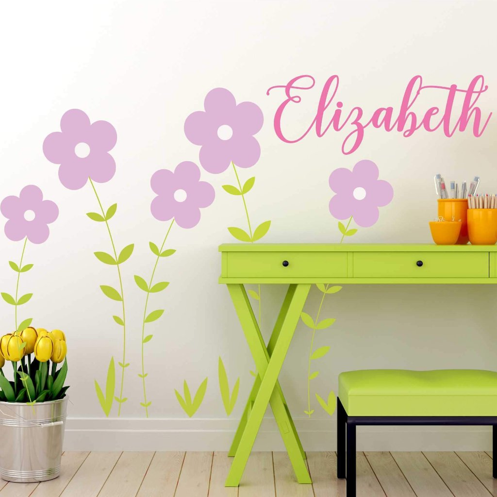 Double Flower Vine Kids Wall Decal