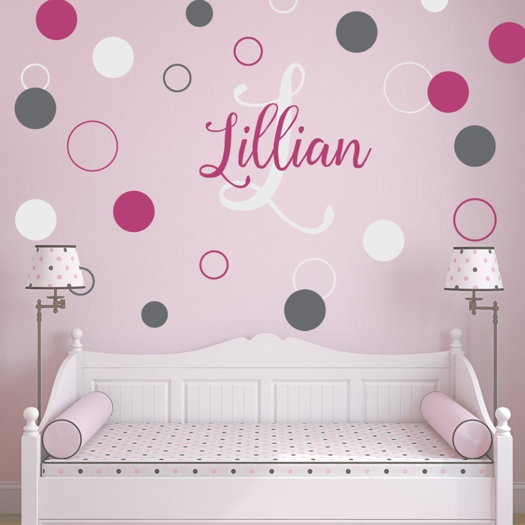 Dots and Circles Script Name and Monogram Kids Wall Decal