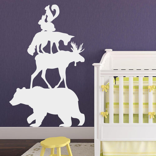 Woodland Forest Animals Stack Large Kids Wall Decal