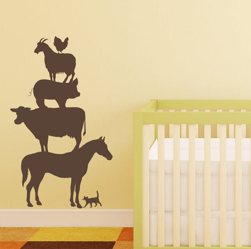 Farm Animals Stack Large Kids Wall Decal