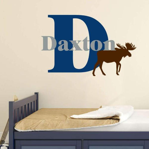 Woodland Baby Moose Name Large Kids Wall Decal