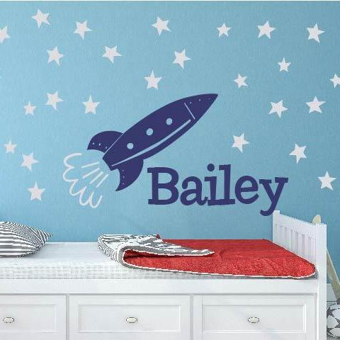 Space Star Rocket Name Kids Wall Decal