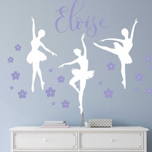 Dancing Ballerina Trio Name Kids Wall Decal