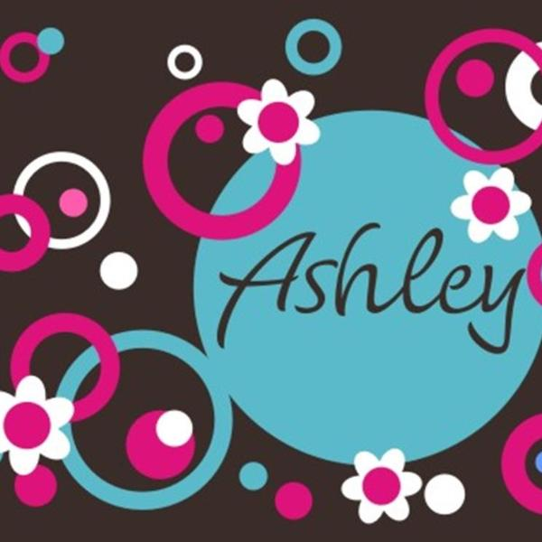 Personalized Circles Dots and Flowers Kids Wall Decal