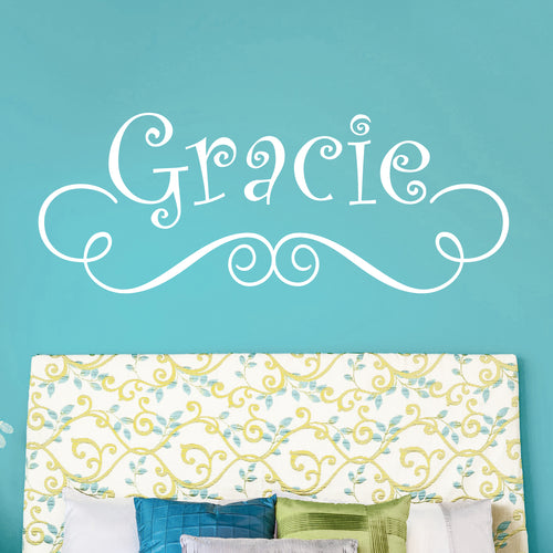 Swirl Personalized Gracie Kids Wall Decal