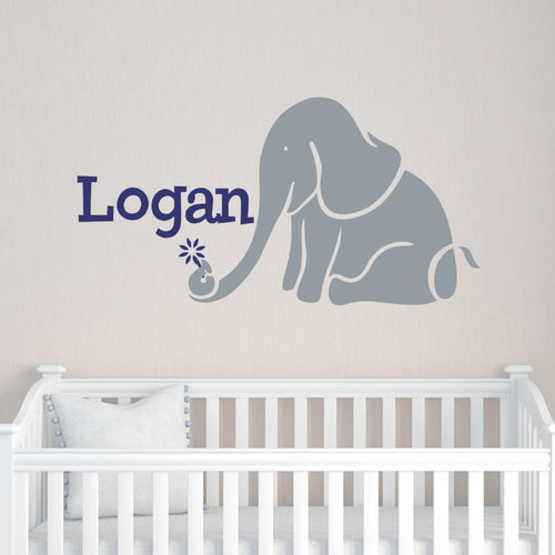 Elephant and Flower Name Kids Wall Decal