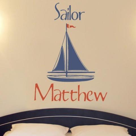 Nautical Sailor Personalized Name Kids Wall Decal
