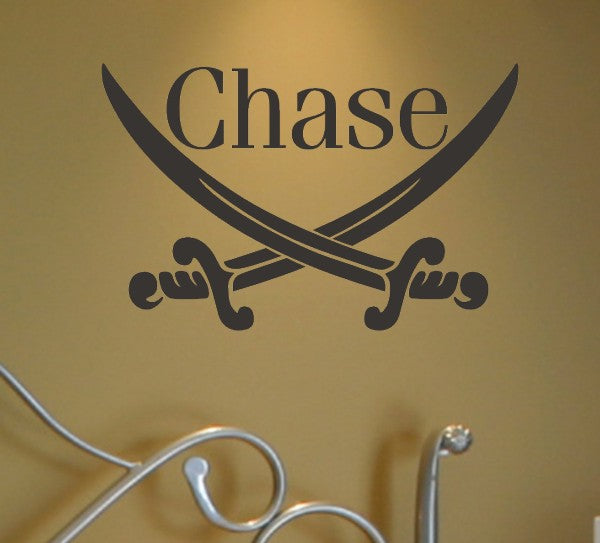 Pirate Swords Personalized Name Kids Wall Decal