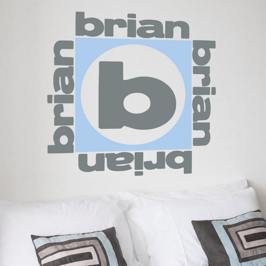 Square Name and Monogram Kids Wall Decal