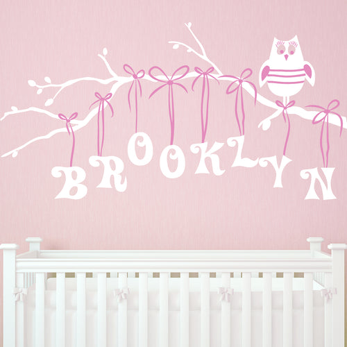 Girl Owl on Branch Personalized Kids Wall Decal