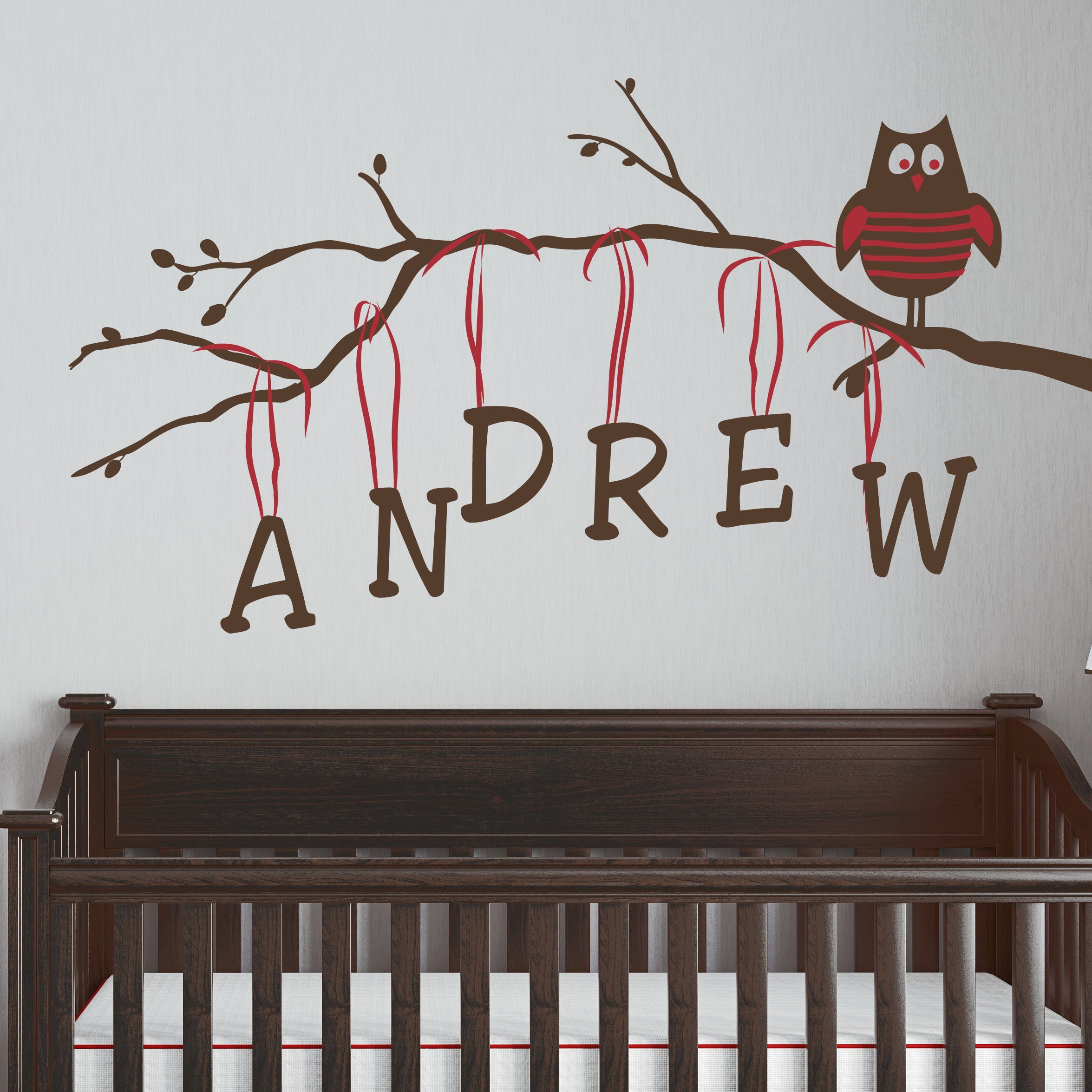 Boy Owl on Branch Personalized Kids Wall Decal