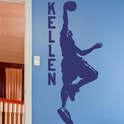 Basketball Dunking Personalized Kids Name Decal