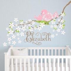 Blossoms Birds Tree Branch Name Kids Wall Decal