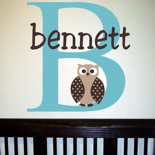 Owl Boy Name Kids Wall Decal
