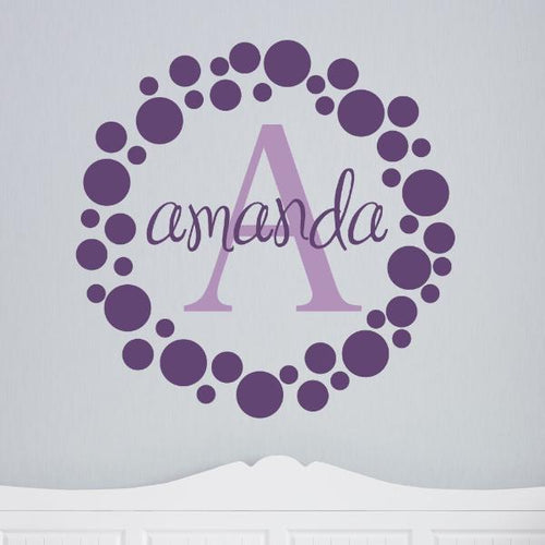 Polka Dots Frame Personalized Name Kids Wall Decal