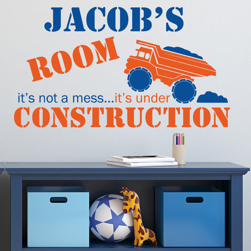 Under Construction Kids Wall Decal