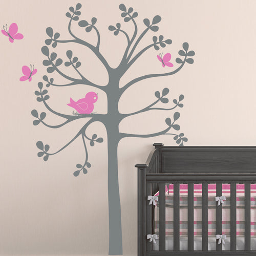 Large Spring Tree Bird and Butterflies Wall Decal