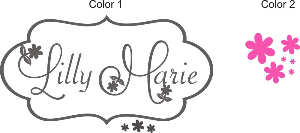 Daisy Lilly Floral Personalized Name Frame Kids Wall Decal