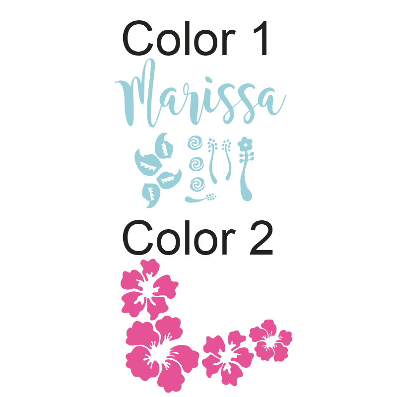 Moana Inspired Four Hibiscus Flowers with Name Kids Wall