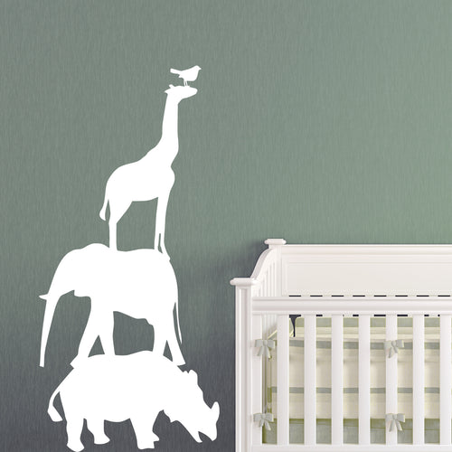 Safari Animals Stacked Kids Wall Decal