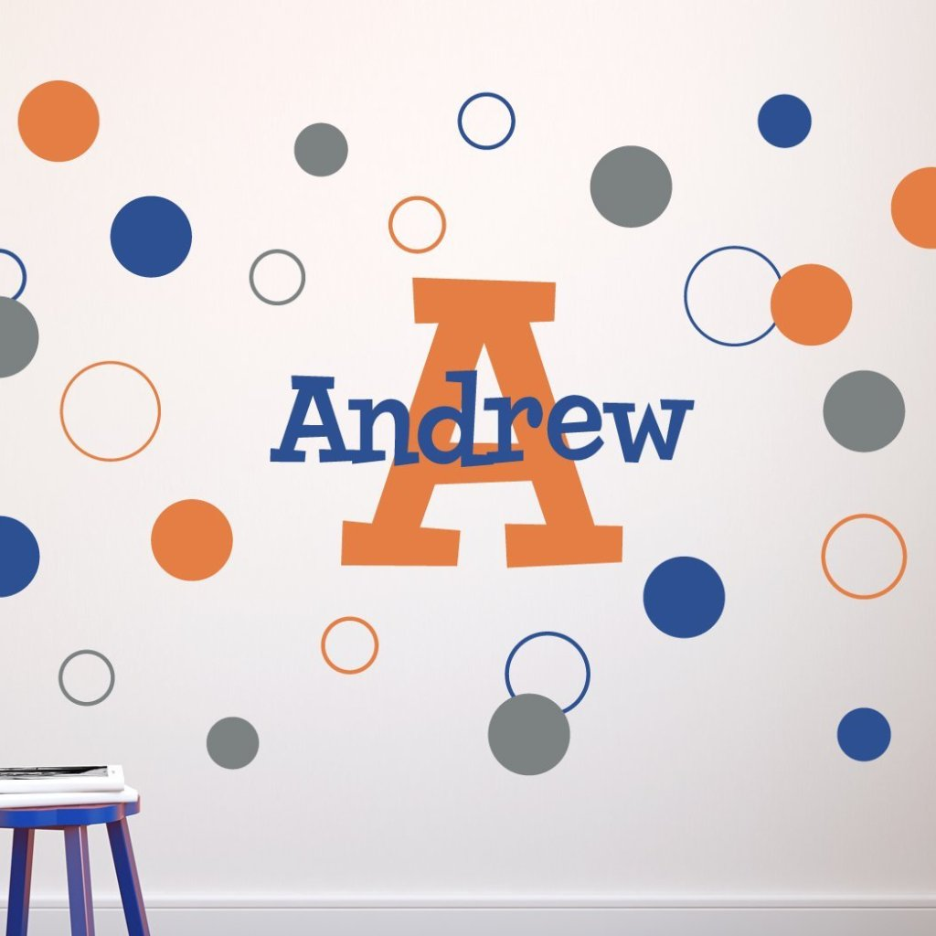 Dots and Circles Fun Name and Monogram Kids Wall Decal
