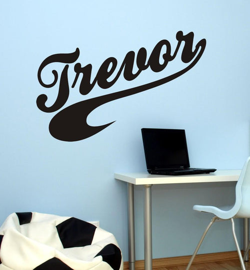 Sports Swoosh Boy Name Kids Wall Decal