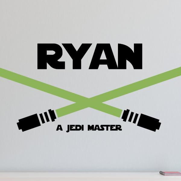 Star Wars Lightsaber Duel Name Kids Wall Decal