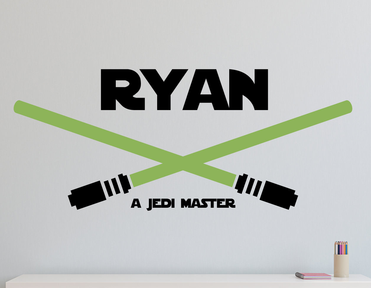 Star Wars Inspired Lightsaber Duel Name Kids Wall Decal
