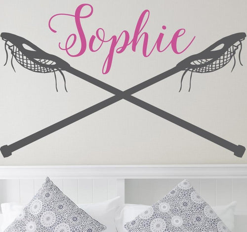 Lacrosse Girl Monogram Girls Kids Wall Decal