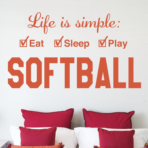 Softball Life is Simple Play Kids Wall Decal
