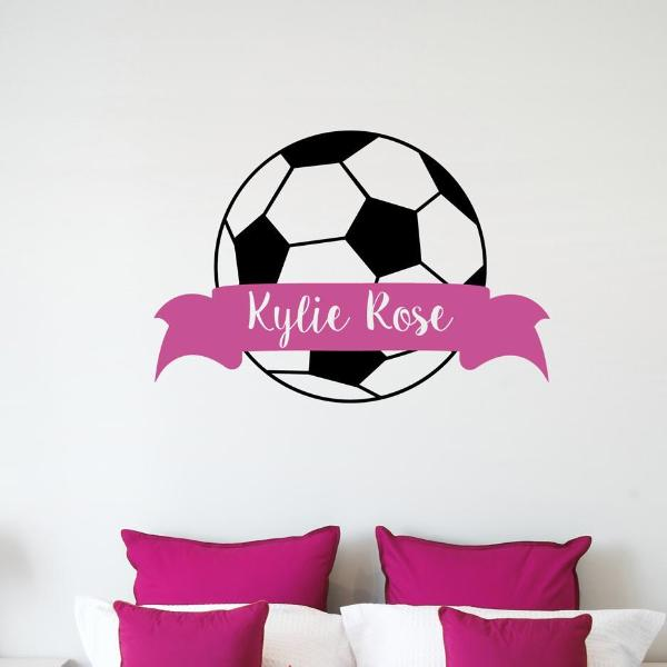 Soccer Ball Banner Personalized Kids Wall Decal