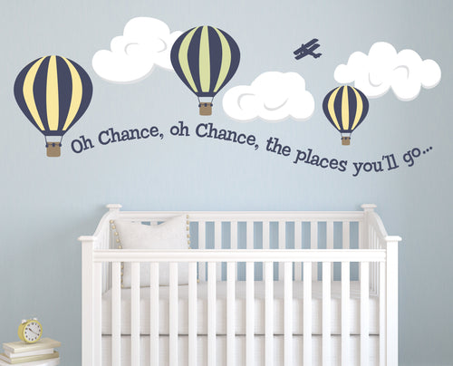 Oh the Places Hot Air Balloon Kids Wall Decal