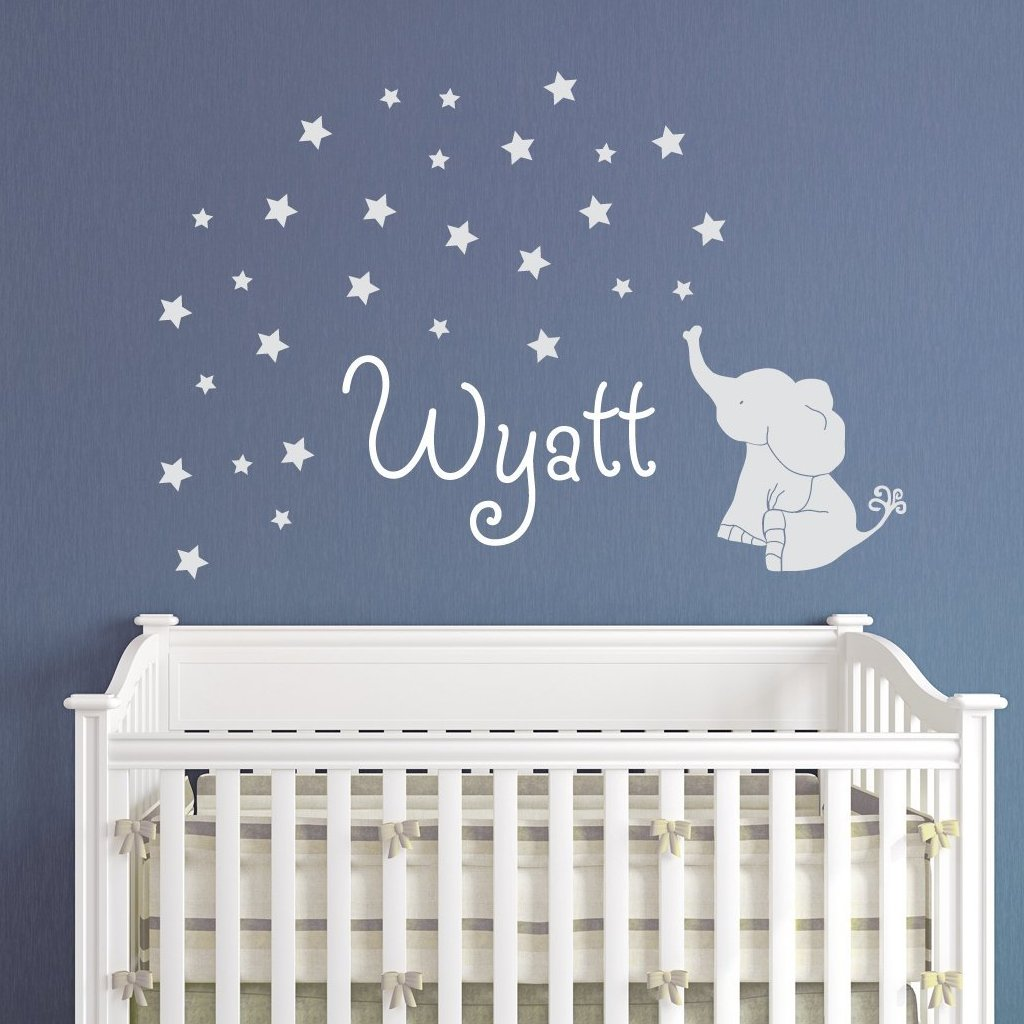 Baby Elephant with Stars Wall Decal