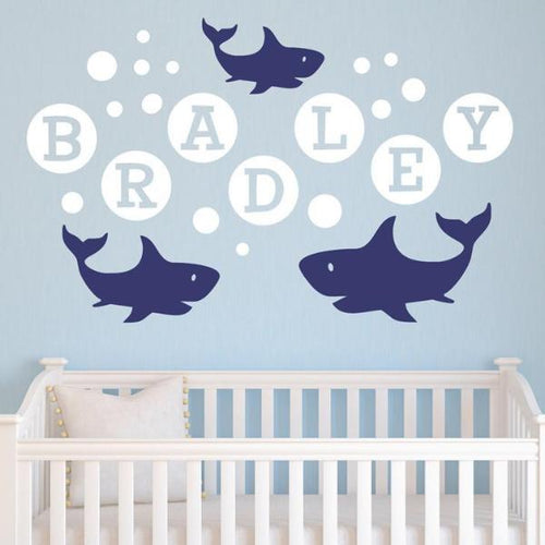 Shark Family Bubbles Personalized Sea Kids Wall Decals
