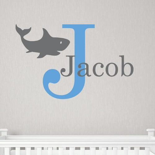 Shark Monogram and Name Decal Kids Wall Decal