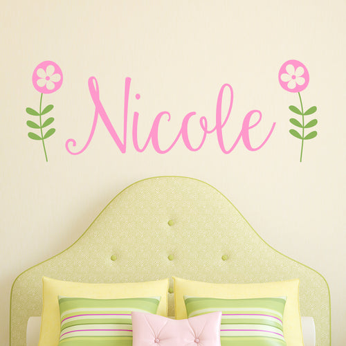 Retro Flower Personalized Name Kids Wall Decal