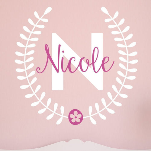 Pretty Flower Laurel Leaf Personalized Name Kids Wall Decal