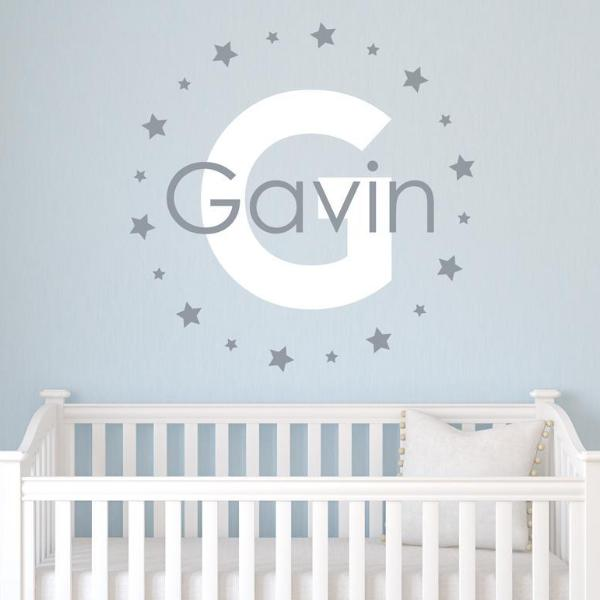 Star Circle Personalized Name Kids Wall Decal